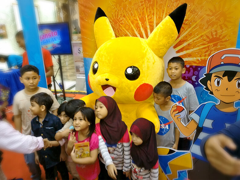 Pikachu mascot at Monsta Galaxy 2017 carnival in Alamanda, Putrajaya
