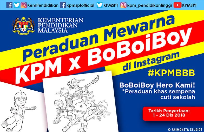 Peraduan Mewarna Kementerian Pendidikan Malaysia x BoBoiBoy di Instagram